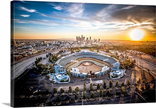 Copterpilot Photography Premium Thick-Wrap Canvas Wall Art Print entitled Aerial View of the Dodgers Stadium with the Los Angeles Skyline in the distance 30