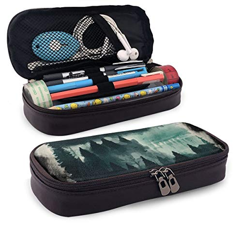 Pencil Case - High Capacity Camping Tent Print Pencil Pouch Stationery Organizer Multifunction Cosmetic Makeup Bag