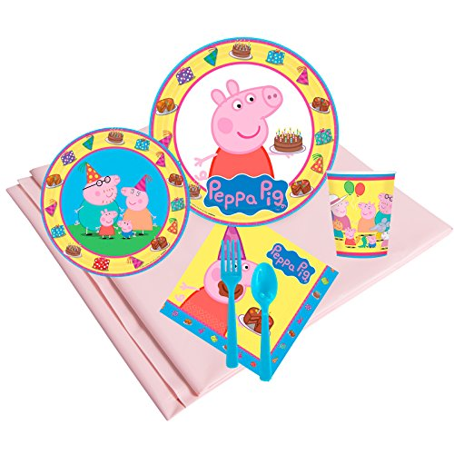 Peppa Pig Birthday Party Deluxe Tableware Kit Serves 8 ()