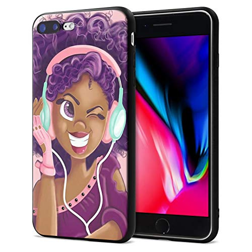 iPhone 7 Plus iPhone 8 Plus Case African American Afro Girls Women Slim Fit Shockproof Bumper Cell Phone Accessories Thin Soft Black TPU Protective Apple iPhone 7 Plus Cases (16)