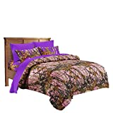 20 Lakes Hunter Camo Comforter, Sheet, Pillowcase Set Pink & Purple (Twin, Pink & Purple)