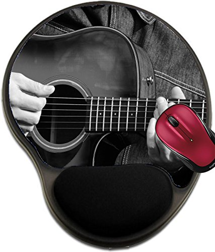 Liili Mousepad wrist protected Mouse Pads/Mat with wrist support design IMAGE ID 33689637 Close up of male hands playing guitar in black and (White Guitar Portrait)