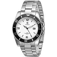 Men's Wrist Watch - COMIO Business Stainless Steel Waterproof Quartz Watches - White