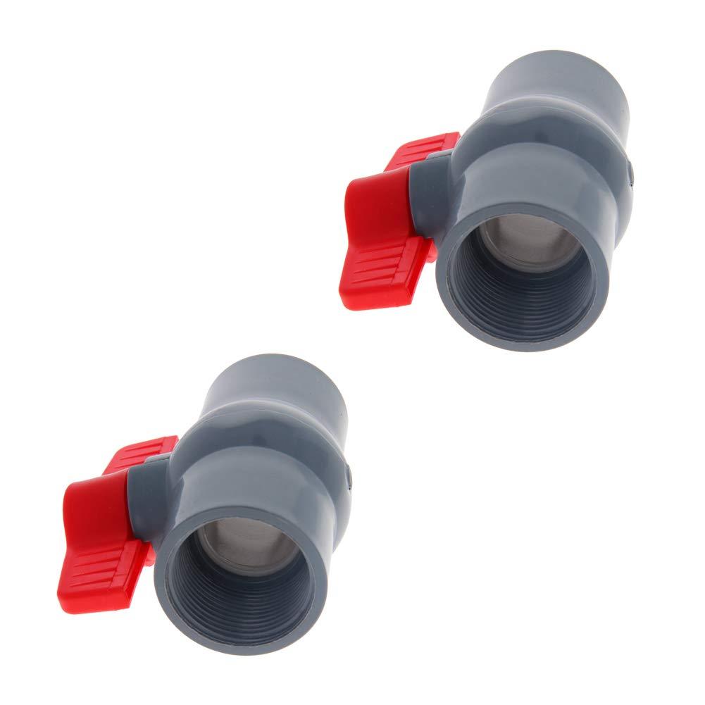 Othmro Inline Plastic Ball Valve Compact T-Handle Water Shut-Off Valves Female Thread 50mm 1pcs