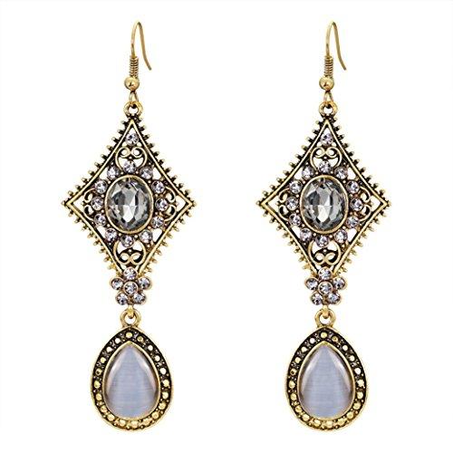 Shybuy Jewelry, Women Bohemian Retro Rhinestone Dangling Earrings For Dress Party Wedding Ear Stud Jewelry Eardrop Gift (E, 5.5cm 2.5cm)