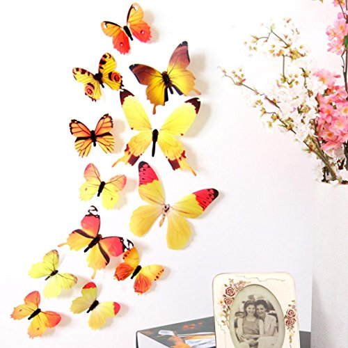 Wall Sticker,Pack of 12 NXDA Butterflies 3D Mirror Wall Art DIY Decal for Household Decorations (Yellow)