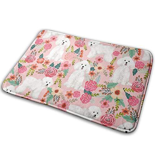 (Yiyingzhang Non-Slip Bathroom Rug Door Mat Bichon Frise Dog Pink Florals Vintage Easy to Clean Doormats)