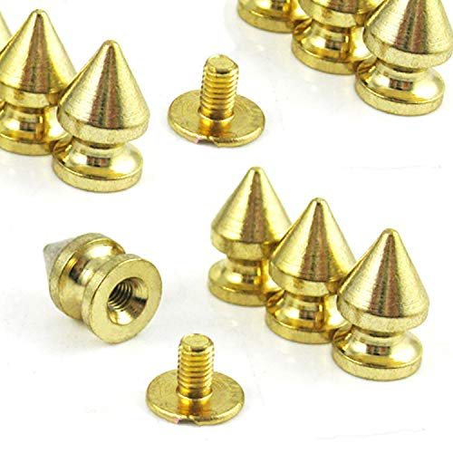 RUBYCA 12MM 100 Sets Metal Tree Spikes and Studs Metallic Screw-Back for DIY Leather-craft Gold Color ()