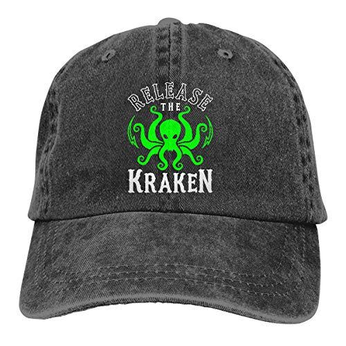 Baseball Humor Cap - Release The Kraken Baseball Cap Dad Hat Adjustable Hat Visor Hat Black