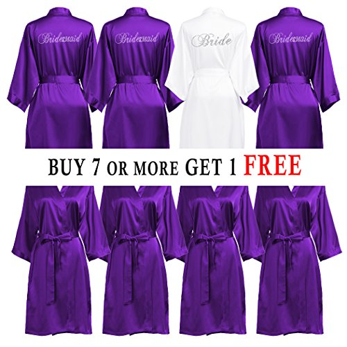 PROGULOVER Set Of Bridesmaid Robes Buy 6 Get 1 Free Bridesmaid Gift Personalized Rhinestone Satin Bride Robes