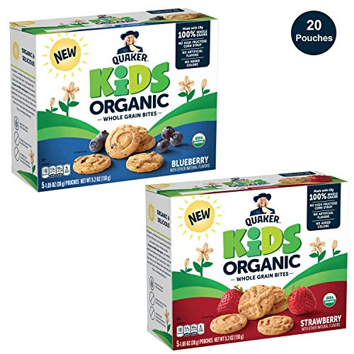 Quaker Kids Organic Whole Grain Bites, 2 Flavor Variety Pack, 4 boxes, 20 Count
