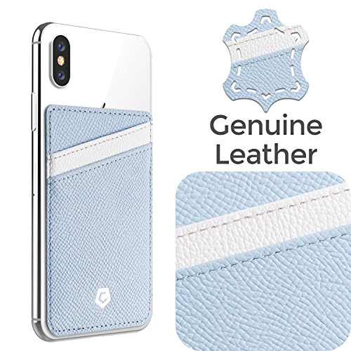 Cobble Pro [Genuine Leather] Wallet Card Holder for Back of Phone, Adhesive Stick-On ID Credit Card Pocket Case Compatible iPhone XS/Max/XR/X/8/8 Plus/Samsung Galaxy S10/S10 Plus/S10e, Blue/White