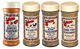 Bolner's Fiesta Game and Fish Seasonings Variety Bundle: (1) Seafood Seasoning, (1) Game Fish Seasoning, (1) Jerky Seasoning, and (1) Wild Game Rub