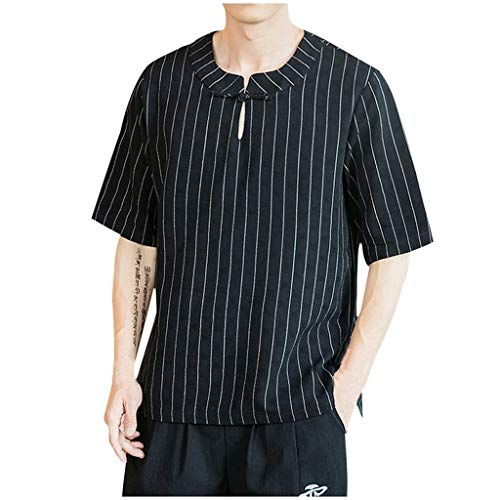 GDJGTA Tops for Mens Summer Short Sleeve Vintage Stripe Linen Patchwork T-Shirt Comfort Tops Black