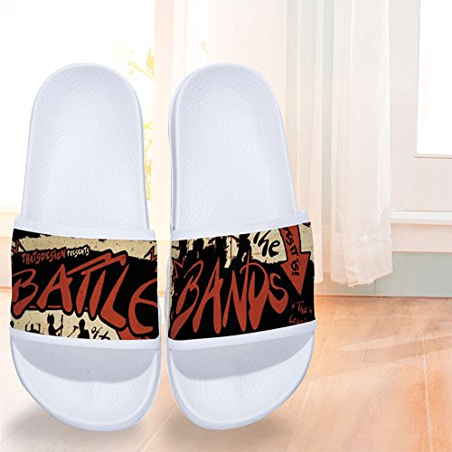 Drying Two Music Slippers Quick Band Slip Slippers for White Sides Different Battle Rock Non Womens rXrvq4