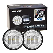 """2015 New 2pcs 4-1/2"""" 4.5inch Chrome Cree LED Auxiliary Spot Fog Passing Light Lamp for Jeep Tractor Boat Led Fog Lamps Bulb Headlight Driving Offroad Lamp for Harley Motorcycle"""