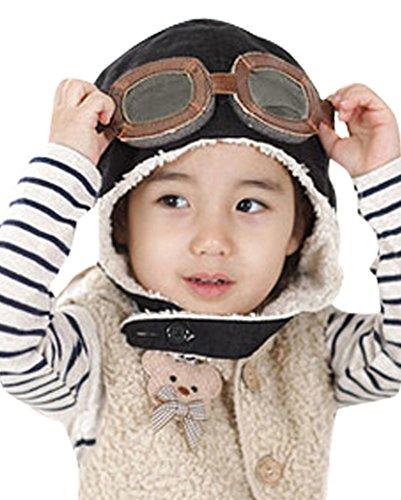 Little Boys Baby Fleece Lined Aviator Pilot Earflap Hat Black