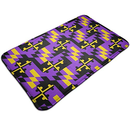 Marland Flag Baltimore Ravens Colors MD_1092 Mat Ultra Absorbent Soft Floor Mat, Pet Bed Mat/Rug for Dogs & Cats, Bathroom Non-Slip Doormat, Machine-Washable,19.531.5 Inch ()
