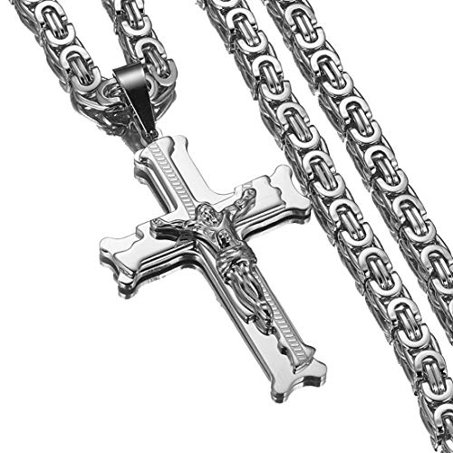 Fashion Womens Mens Stainless Steel Jesus Cross Pendant Byzantine Chain Necklaces 20-40 inches(Silver, 30 inches)