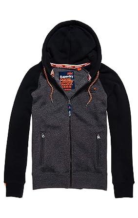 Superdry Herren Orange Label Raglan Zip Hood Kapuzenpullover