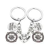 2pcs BBF No Matter Where Best Friends Forever Compass Pendant Key Chain Ring Set Friendship Gift