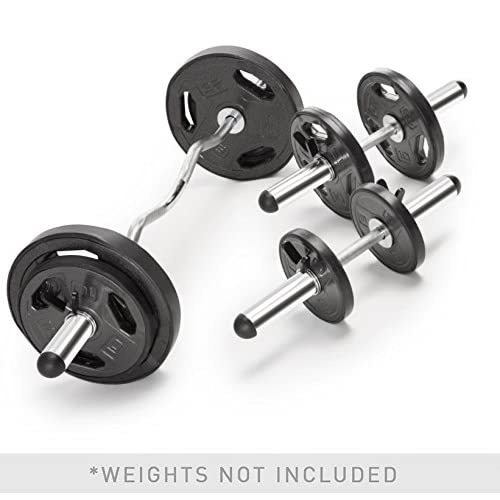 Marcy Olympic Hollow Bar Kit Chrome Curl Bar Dumbbell Handles and Spring