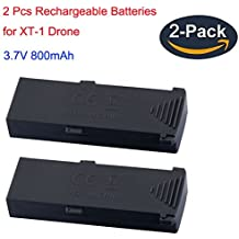 WINGLESCOUNT XT-1 RC Foldable Quadcopter Drone Battery, 3.7V 800mAh Rechargeable 2.4G 4 Channel 6-Axis RC FPV Aircraft Drone Batteries (2 Pack)