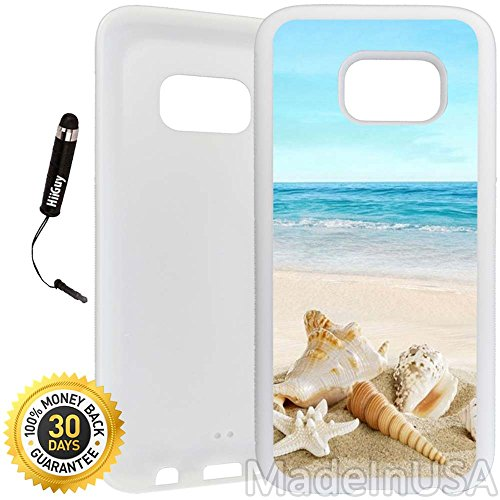 Custom Galaxy S7 Case (Ocean Theme Starfish And Seashell On Beach) Edge-to-Edge Rubber White Cover Ultra Slim | Lightweight | Includes Stylus Pen by Innosub (Samsung S7 Edge Best Themes)