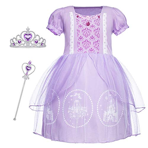 Cmiko Princess Sofia Costume Dresses Short Sleeves Dress Up Clothes Skirts for Toddler Little Girls Birthday Party with Tiara and Magic Wand Accessories Size 5t 6t L(6) 5-6 -