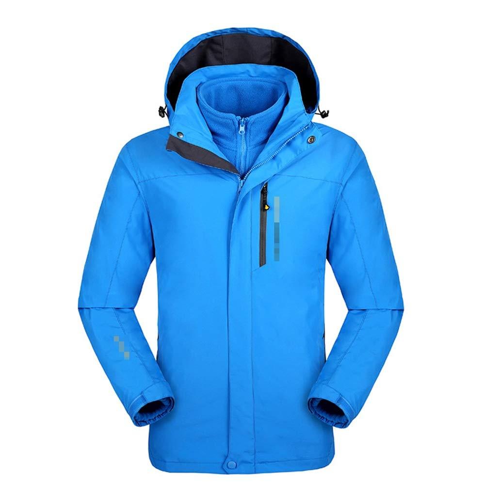 スキーウェア 防風フード付きインナー暖かいフリースコートスキージャケットウィンタージャケット防水3-in-1マウンテンコート 理想的なスキー服 (色 : Royal 青, サイズ : XXL) Royal 青 XX-Large