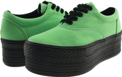 Maxstar C50 5-Holes Low-Top Casual Platform Boat Sneakers Shoes Green viP3NrE