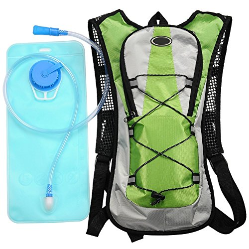 Water Bladder Bag Backpack Hydration Pack Hiking Camping 2L Green - 5