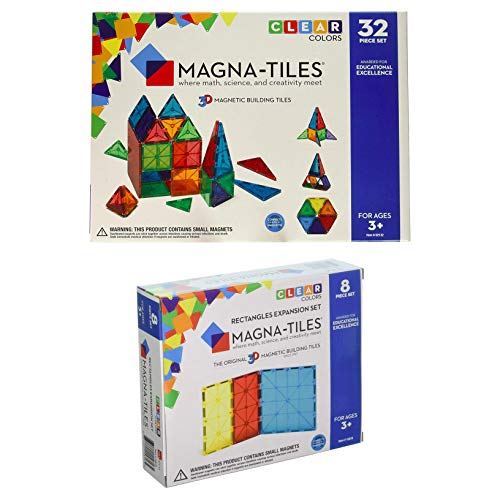 Magna-Tiles 32-Piece Clear Colors Set - The Original, Award-Winning Magnetic Building Tiles - Creativity and Educational - STEM Approved Bundled 8-Piece Rectangles Expansion Set - The by Magna-Tiles (Image #9)