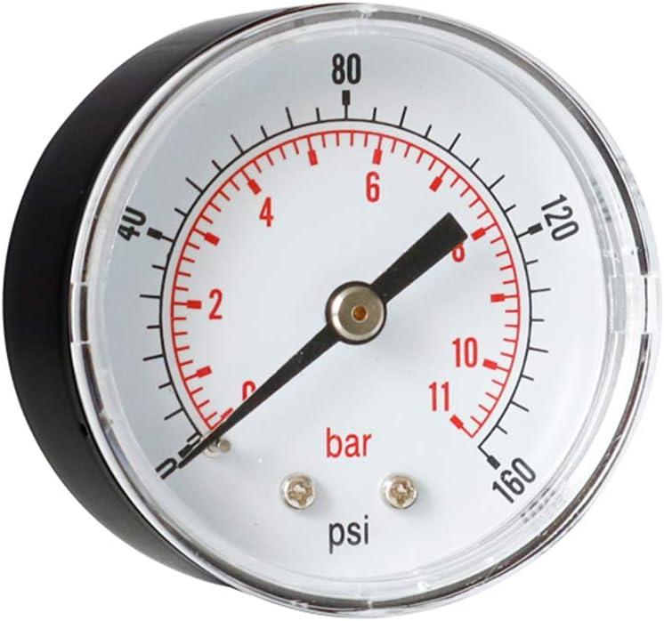 Mayoaoa Manometro 52 mm quadrante 1//8 BSPT Orizzontale 0//15,30,60.100,160,300 PSI /& Bar 100