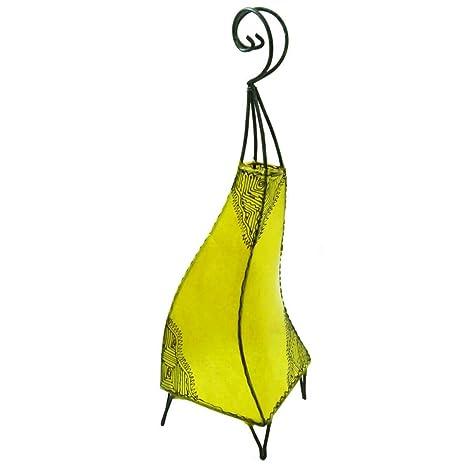 Lámpara de pie marroqui, de cuero natural tintado y pintado a mano con alheña o henna, modelo Marrakesch Orient 60 cm Color amarillo