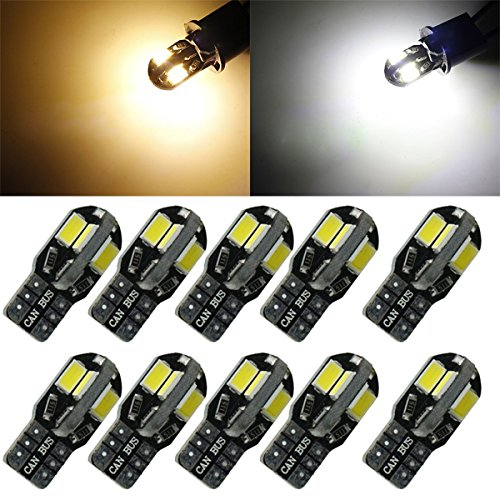 EASTAUTO 10pcs Canbus Error Free T10 T15 W5W 194 5730 8 SMD 400 Lumens Warm White(pack of 10)