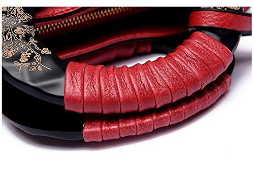 à seau sac bandoulière femmes rétro à PU Orange relief main cuir dames sac bandoulière Sentsreny grande féminin capacité en sac en wIW1FXqgnP