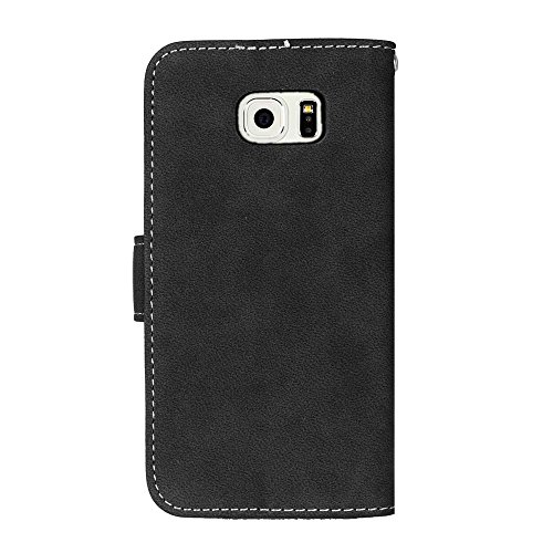 SRY Caja de la carpeta de cuero de la PU superior Flip Folio funda protectora con ranura para tarjeta / soporte para Samsung Galaxy S6 Edge ( Color : Rose ) Black