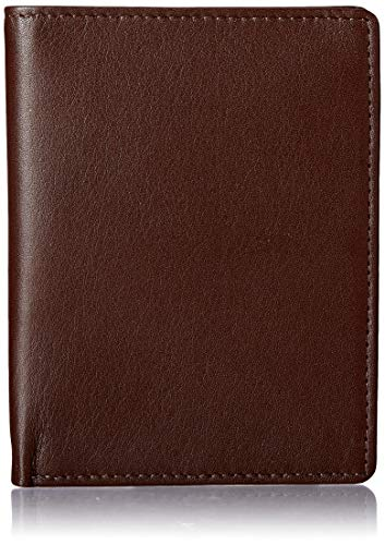 Royce Leather RFID Blocking Bifold Passport Currency Travel Wallet, Brown