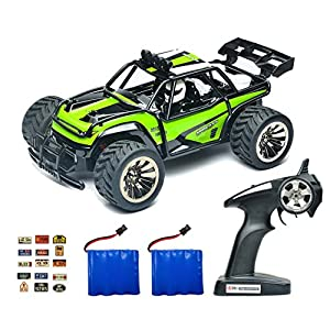 ROCKAR Electric RC Car Off Road 1:16 Scale RC Monster Truck 2.4GHz Radio Remote Control Car 2WD High Speed Rock Crawler with 2 Rechargeable Battery and 45 PCS Stickers (Green)