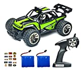 #6: ROCKAR Electric RC Car Off Road 1:16 Scale RC Monster Truck 2.4GHz Radio Remote Control Car 2WD High Speed Rock Crawler with 2 Rechargeable Battery and 45 PCS Stickers (Green)