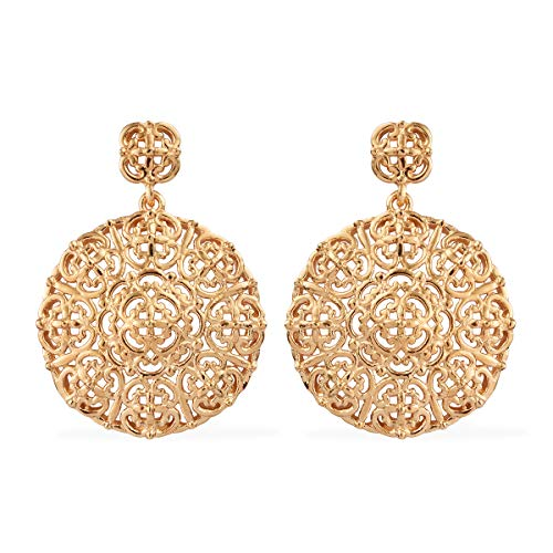 - 18K Yellow Gold Overlay ION Plated Flower Floral Openwork Dangle Drop Earrings for Women Filigree Jewelry