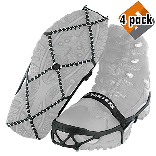 Yaktrax Pro Traction Cleats for Walking, Jogging, or Hiking on Snow and Ice (4 Pack (Small (Shoe Size: W 6.5-10/M 5-8.5)))