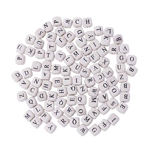 (Forgun 100pcs Natural Mixed A-Z Alphabet Letter Cube-Wood Beads 10mm for Jewelry Making)