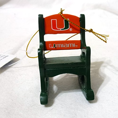 Officially Licensed Miami Hurricanes Rocker/Chair Christmas Ornament