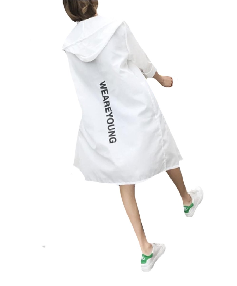 Fseason Men's Summer Outwear Mid-Long Style Anti-Sun Trench Rain Jacket White L