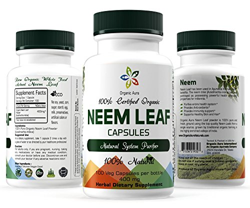 Certified Organic Neem Capsule. 100 Veg Easy Swallow Capsules. Naturally Supports Cleansing and Immune Support. Enhances overall health. 100% Natural and Raw Superfood Supplement. No GMO. Gluten Free.
