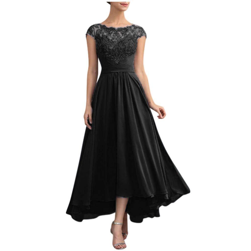 Kininana Women Elegant Floral Lace Patchwork Pleated Chiffon Party Long Full Dress Sweet Pure Sleeveless Slim Swing Dress by Kininana