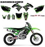 D'Cor 2015 Team Monster Energy Kawasaki Graphics / Trim / Black Numberplates Kit - KX250F - 2009-2012 _20-20-615
