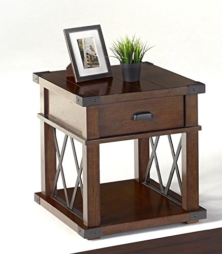 - Progressive Furniture P527-04 Landmark Rectangular End Table, Brown